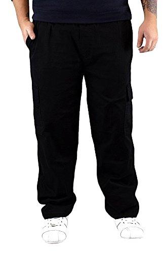 sportliche Herren Thermo Cargohose mit Gummibund und seitlich aufgesetzten Klettverschluss Taschen Gr.: M-XXXL Schwarz XL
