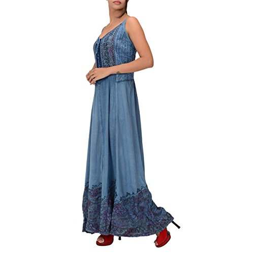 Skirts & Scarves Rayon Embroidered Sleeveless Dress For Women (Sky Blue)