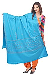Weavers Villa - Womens Blue Embroided Kashmiri Woolen Shawls , Stoles
