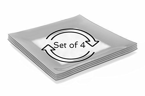 GAC Set of 4 Large Tempered Glass Dinner Plates Break and Chip Resistant - Microwave Safe - Oven Proof - Dishwasher Safe -Charger Plate, Decorative Plate Silver (Tempered Glass Oven compare prices)