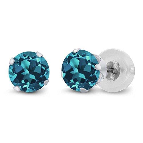 1.00 Ct Round 5mm London Blue Topaz 14K White Gold Stud Earrings