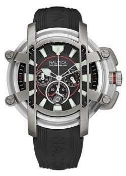 Nautica NMX300 Chrono Black PU Strap with Black Dial Watch - A38002X