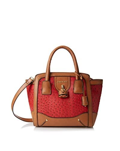 London Fog Women's Lark Satchel, Red Ostrich As You See