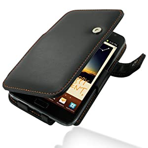 PDair Leather Case for Samsung Galaxy Note GT-N7000 - Book Type (Black/Orange Stitchings)