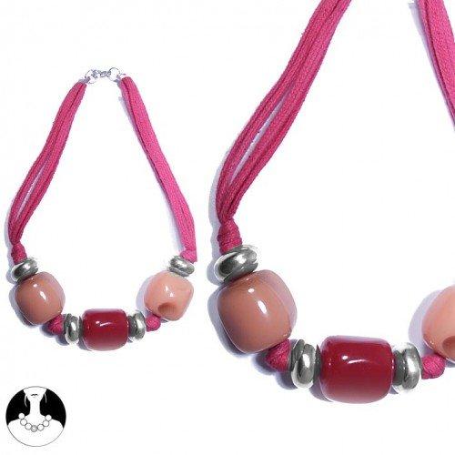 sg paris women necklace necklace resine aluminium 40cm silver old pink resin