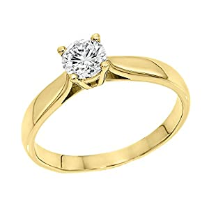 GIA Certified 14k yellow-gold Round Cut Diamond Engagement Ring (0.59 cttw, K Color, VS2 Clarity)