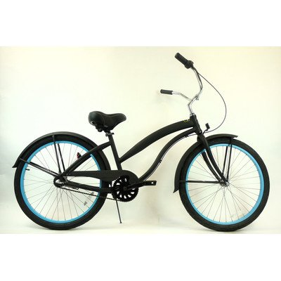 Women's 3-Speed Aluminum Beach Cruiser Frame Color: Flat Black with Baby Blue Wheels
