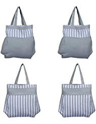 Home Pluss 4 Piece Women's Casual Fancy Bag( Grey, Stripes & Solid)