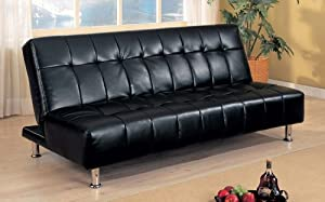 Coaster Contemporary Futon Sofa Bed with Metal Legs, Black Vinyl