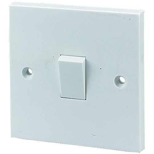 Single Gang Light Switch 1 Gang 2 Way White Plastic 10A