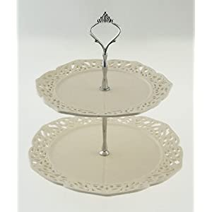 Vintage Cream Design 2 Tier Cake Stand / Display Holder