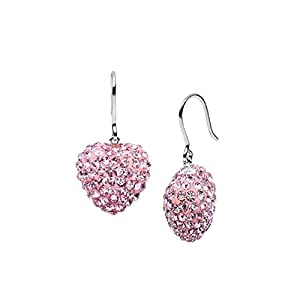 5 Carat Heart Dangling 925 Sterling Silver Cubic Zirconia Stud Earrings in Pink