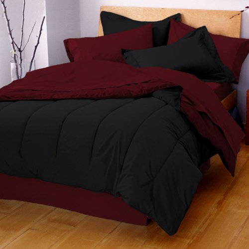 Martex Reversible King Comforter, Ebony/Burgundy back-726596