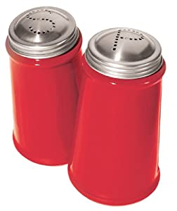 Oggi Salt and Pepper Shaker Set with Stainless Steel Tops, Red