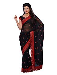 Diva Fashion-Surat Gorgette With Embroidery On Its Border Black Saree 280C