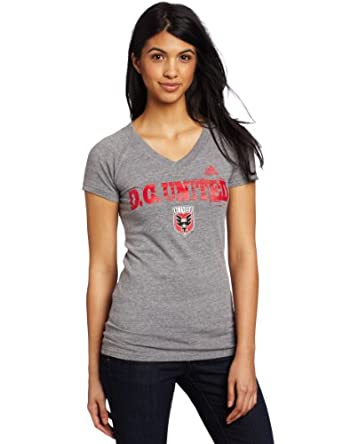 MLS DC United Universal Roughed Up Tri-Blend V-Neck Ladies T-Shirt by adidas