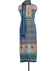 Kalki Fashions Blue Unstitched Suit Adorn In Floral Print