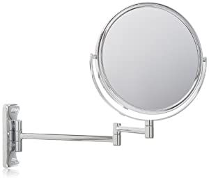 Jerdon JP7506CF 8-Inch Two-Sided Swivel Wall Mount Mirror with 5x Magnification, 13.5-Inch Extension, Chrome Finish