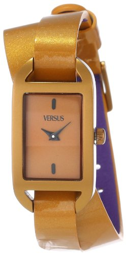Versus by Versace Women's SGQ040013 Ibiza Rectangular Bronze Aluminum Case Leather Strap Patent Top Watch