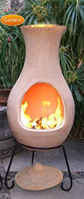 Large Clay Chimenea Chiminea Natural Terracotta 115cm X 42cm - Gardeco Large Air Chimenea from UK-Gardens