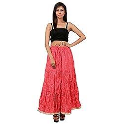 Gorgeous Pink Cotton Lehariya Skirt