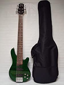 Ktone 6 String Electric Bass Guitar, Green Maple Top Free Bag from Ktone