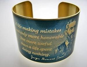 "George Bernard Shaw Vintage Style Brass Cuff Bracelet: ""A life making mistakes..."""