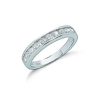 925 Sterling Silver Channel Set Cz Half Eternity Ring
