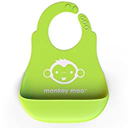 Monkey Moo Soft Silicone Wipe Clean Waterproof Baby Bibs - BPA Free - FDA Approved - Enhance Your Baby and Toddler Experience Today