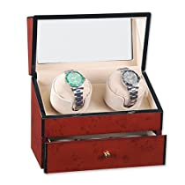Dark Burlwood Gloss Finish Double Watch Winder