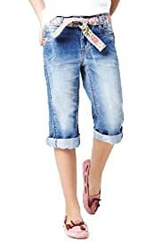Denim Knee Shorts with Belt