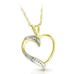 Süßer 9 Karat (375) Gold Herz Damen - Diamant Anhänger + Kette Prinzessschliff I-I1 - 18mm*13mm Kette 45 CM