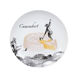 La chaise longue 31-K1-049 - Juego de platos de porcelana (6 unidades de diseños distintos), diseño con dibujo de quesos, color blanco