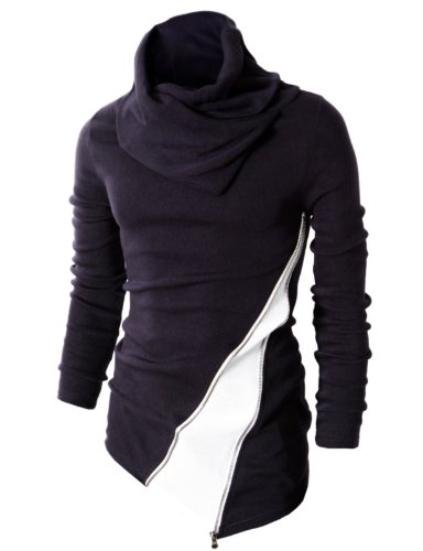 H2H Mens Casual Turtleneck Slim Fit Pullover Sweater Oblique Line Bottom Edge NAVY US S/Asia M (KMTTL045)