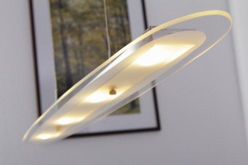 LED Lampada a sospensione ovale in metallo nichel vetro