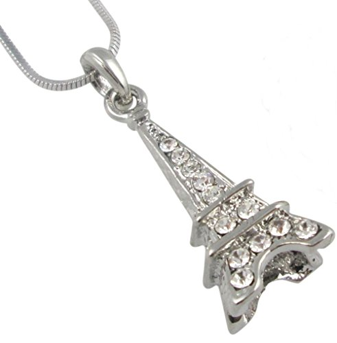 Gorgeous Silver Tone 3-D Crystal Eiffel Tower Paris France Theme Necklace for Girls, Teens, Women, Gift (Lil Of France compare prices)