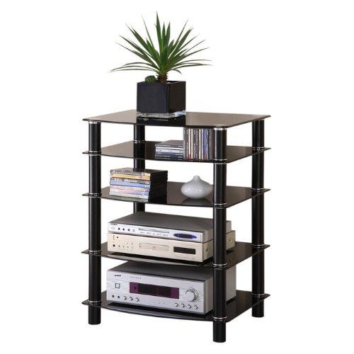 Everest 5 Shelf Audio Rack Smoked Black