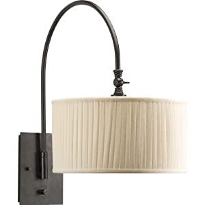 Side Wall Lamp Shades : Progress Lighting P2849-84 1-Light Wall Bracket with Drum Shades in Cream Linen Fabric with Side ...