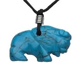 Hand Carved Turquoise Howlite Gemstone Animal Pendant Buffalo