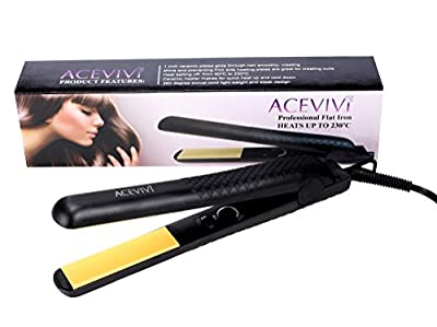 ACEVIVI Adjustable Temperature Black Ceramic Tourmaline Ionic Flat Iron Hair Straightener,Dual Voltage 110V-240V