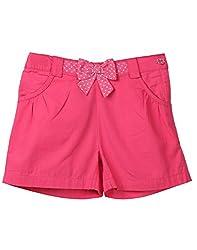 Beebay Girls 100% Cotton Woven Pink Polka Dot Bow Shorts (G1416126702915_Pink_9 Years)
