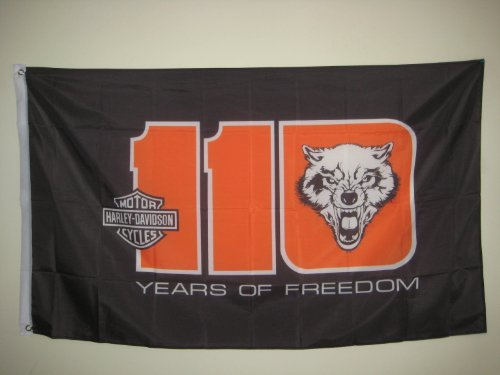 HARLEY-DAVIDSON motorcycle HARLEY-DAVIDSON 110TH YEAR ANNIVERSARY with wolf 3x5 FLAG BANNER