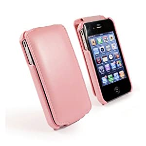 Tuff-Luv Tuff-Grip (antenna assist) slim-line leather case cover for Apple iPhone 4 / 4S - (pink)