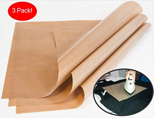 1000-Use 3-Pack Teflon PTFE Sheet for Heat Press Transfers, 16 x 20