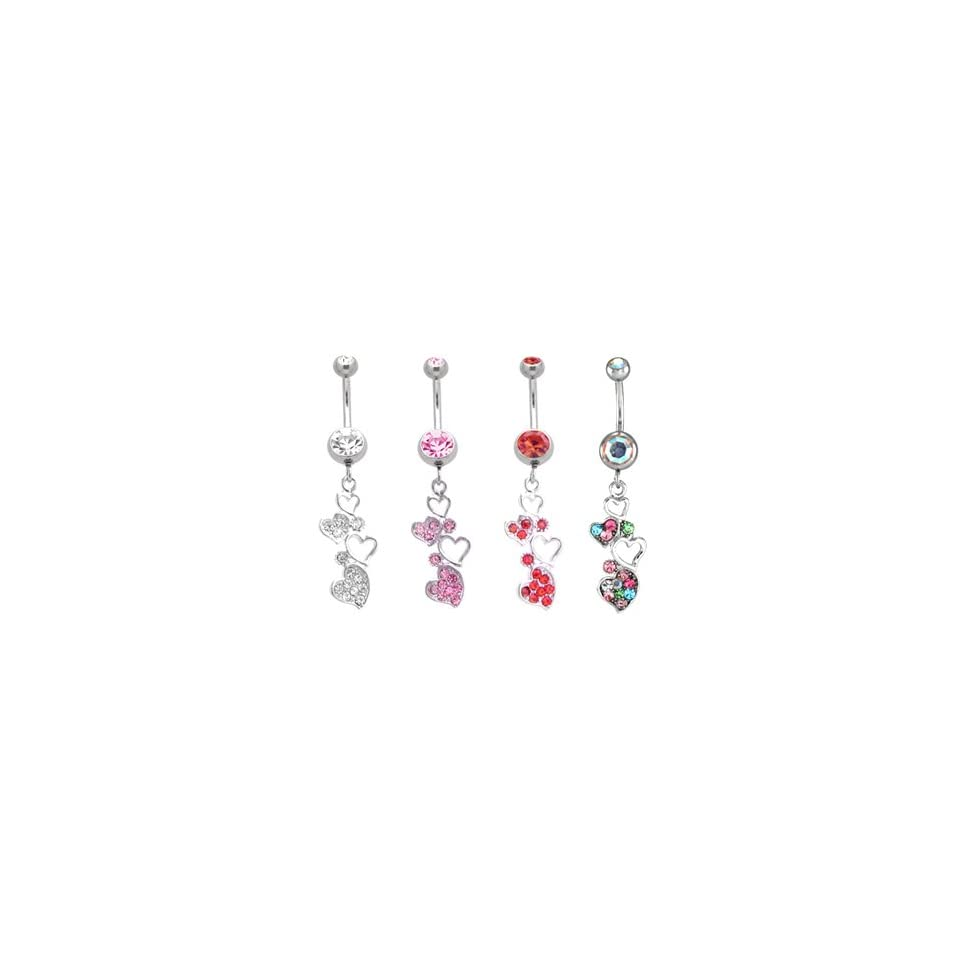 316L Stanless Steel Multi Colored Dangling Hearts Belly Ring   14g (1
