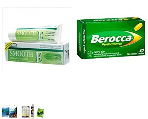 Special Set :Smooth E Cream Anti-Aging Wrinkle Fade Acne Scars Spots 40G. Plus Berocca Performance 30 Tablets. [Get Free Herbal Lozenges]