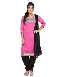 The Chennai Silks - Chanderi Silk & Self Thread Line Unstitched Dress Material - Pink (CCMDM-78)