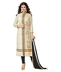 Traditional Fashion Festival offer Cream & Black Cotton Semi Stitched Embroidered Dress Material