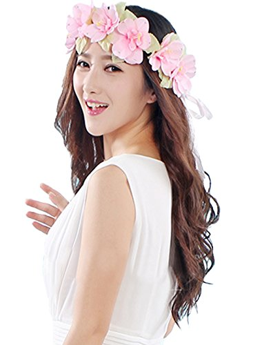 Vivivalue Flower Wreath Headband Crown Floral Garland for Festival Wedding Pink