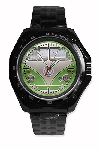 Face Color Front Vw Campervan Green Ice Color Printed Snap On Black Watch Stainless Steel